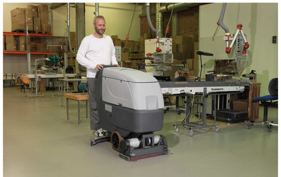 BA551 Industrial Pedestrian Scrubber-Dryer - In Action in engineers workshop
