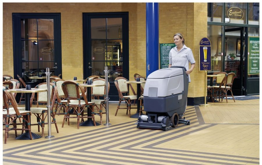 BA551 Industrial Pedestrian Scrubber-Dryer - In Action in Restaurant in large city