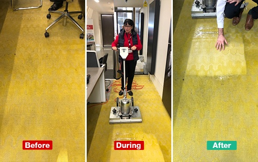 oscillating floor cleaner in action on hard floor